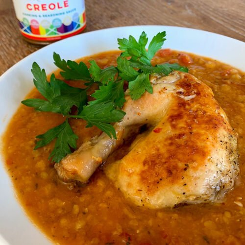 Bowl of chicken and lentil Instant Pot stew