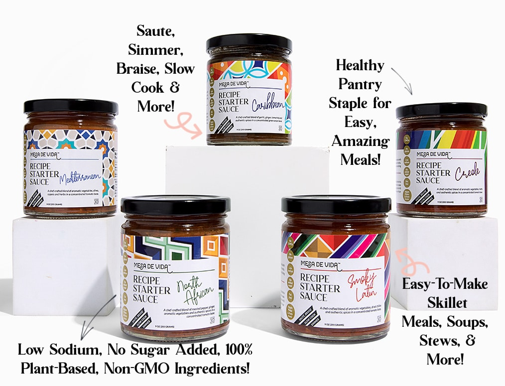 Healthy pantry staples, Mesa de Vida low-sodium recipe starter cooking sauces displayed on boxes with attribues