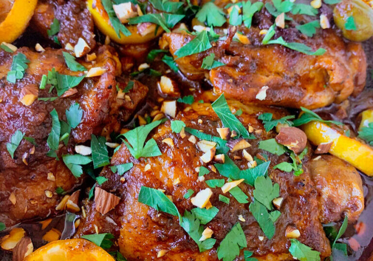 A saucy, delicious, lemony chicken tagine recipe in a pot