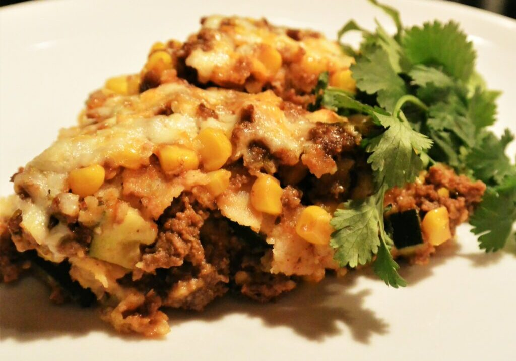 How to make a healthy and light enchilada casserole! Gluten Free.