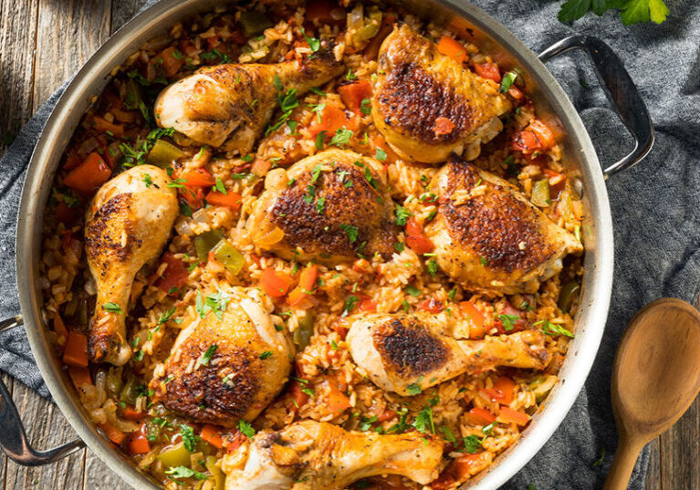 Easy one-pan chicken and rice recipe