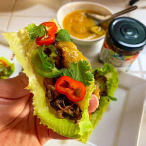 A fresh lettuce leaf filled with a saucy braised Caribbean chicken made with Mesa de Vida sauces and a drizzle of homemade easy mango sauce